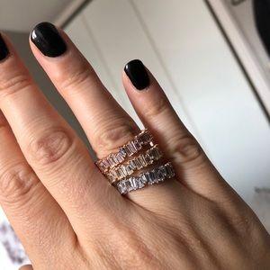 Baguette Diamond Rose White Gold Thin Stacker Ring